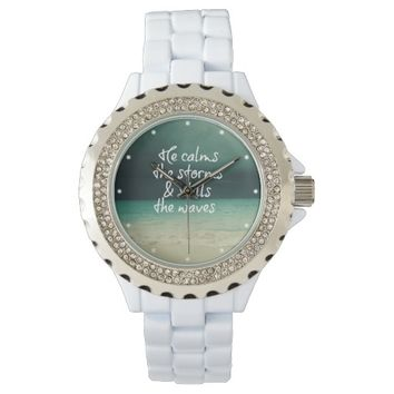 Comforting God Quote with Ocean Storm Wrist Watch