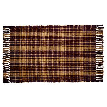 Heritage Check Wine Woven Rug