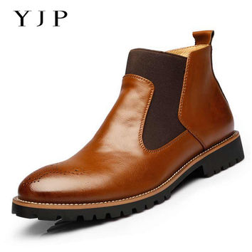 YJP Fashion Chelsea Boots, Black/Brown/Red Spring Casual Men Boot, Men's Footwear Business Brogue Shoes, masculina botas