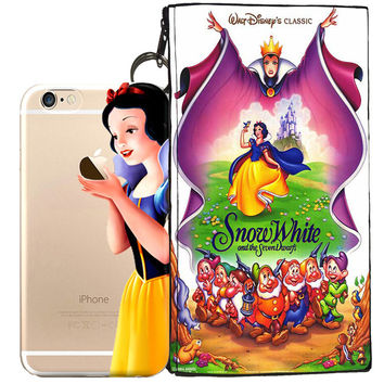 Disney's Snow White Holding Logo Clear Case For Apple Iphone 7 PLUS + Pouch