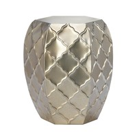 Quatrefoil Moroccan Design Decorative Metal Stool Decor