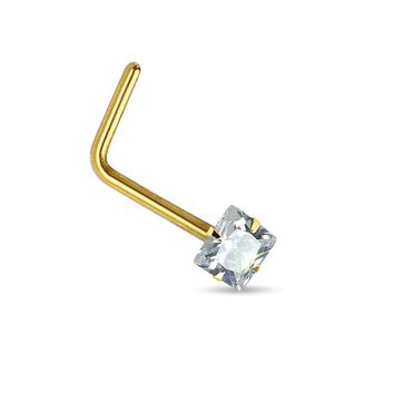 BodyJ4You Nose Ring 14Kt. Gold L-Shape Prong Set Square CZ 20G Body Piercing Jewelry