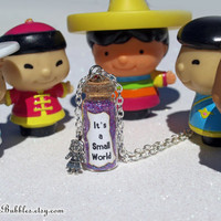 It's a Small World Magical Necklace with a Doll Child Charm, Disneyland, Disney Parks Inspired, by Life is the Bubbles
