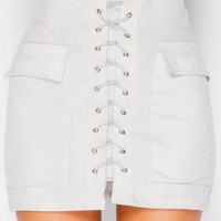 Miranda Grey Lace Up Suede Mini Skirt