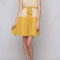 Journalistic Perspective Gradient Color Block Sleeveless Dress in Mustard | Sincerely Sweet Boutique