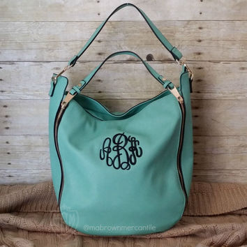 Monogrammed Hobo Handbag - Teal Aqua Faux Leather - Personalized Satchel - Double Handle Purse - Monogrammed Pocketbook - Monogram Tote