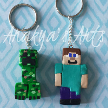Minecraft, Keychain, Keyholder, Video Game, Accessories, Toy, Game, Geek, Gamer, Clay, Creeper, Steve, Jewelry, Girl, Boy, Pcikaxe,