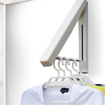 Stainless Folding Wall Hanger Mount Retractable Waterproof Clothes Rack Towel Clothers Coat Organization Space Saving Home Tool