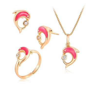 Pink Dolphin Kiss Yellow Gold CZ Pendant Necklace Earrings Ring Jewelry Set