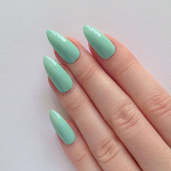 Pastel Green Stiletto nails, Nail designs, Nail art, Nails, Stiletto nails, Acrylic nails, Pointy nails, Fake nails