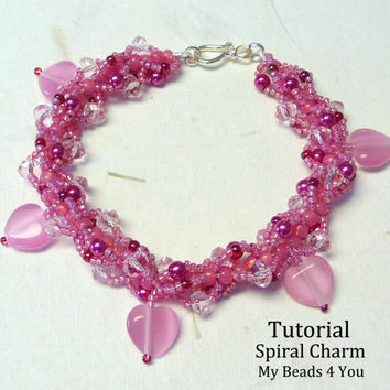PDF Beading Tutorial,Beaded Bracelet Pattern,Jewerly Instructions,Spiral Bracelet Tutorial,Seed Bead Pattern,Beadwoven Charm Instructions