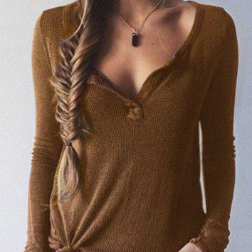Khaki Long Sleeve Casual Knit Top