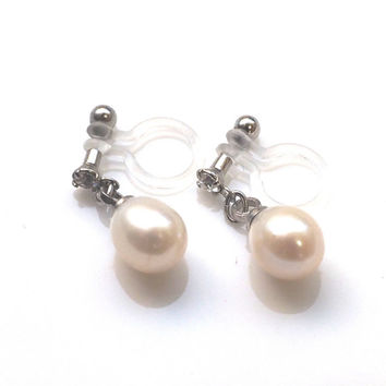 Bridal Freshwater Pearl Invisible Clip on Earrings, Dangle Wedding Natural Pearl with Crystal Clip on Earrings, Non Pierced Earrings