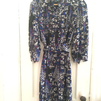 Forest Printed Silk Crepe Shirtdress (Plenty by Tracy Reese)