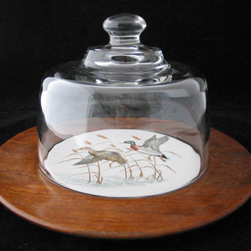 Margaret Studios Wood Cheese Plate with Glass Dome and Mallard Duck Motif Vintage 1950s