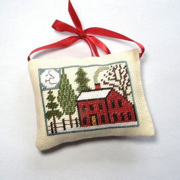 Christmas primitive gift decor, Completed finished cross stitch, Christmas tree ornament, primitive seasonal country decor