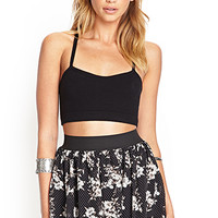 FOREVER 21 Dotted Floral Chiffon Skirt Black/Taupe
