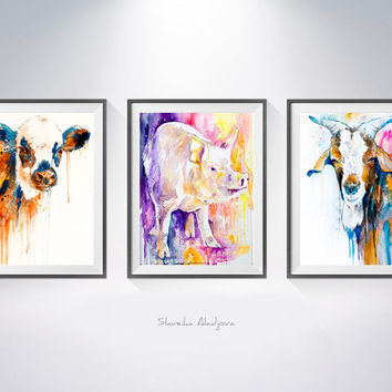 Buy two Get one FREE! Cow, Pig, Goat watercolor painting print, animal illustration, Cow art, Pig print, Goat  illustration