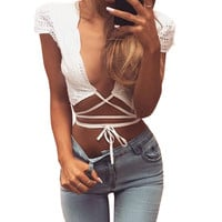 Sexy Bustier Crop Tops Women Casual Hollow Plunge V Neck Self tie Strap Short Top Summer Beach Cap Sleeve Blusa Feminino