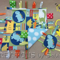 Baby Gift Set: Tag Blanket & Crinkle Tag Toy, Dinosaur Dino Animals, Blue Turquoise Green Yellow Orange READY TO SHIP 157