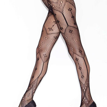 iCollection Lingerie Diamond Pattern Pantyhose