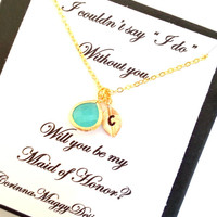 Maid of Honor gift set, Bridesmaid Gift Set, Mother of the Bride Gift, Initial necklace with accent stone, Wedding Gift, Bridal Party
