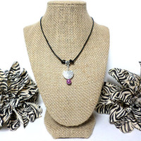Purple pearl silver heart black leather cord choker necklace, heart choker necklace, pearl heart choker necklace, gift