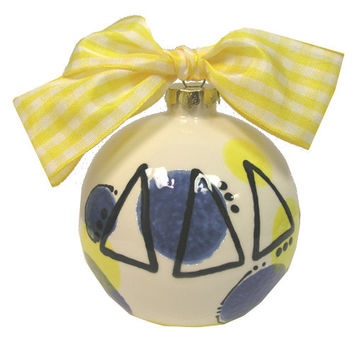 DDD  Delta Delta Delta Sorority Hand Painted Ceramic Christmas Ornament.