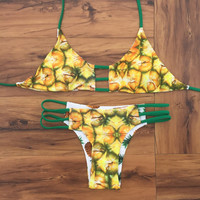Cute Pineapple Pattern Bikini Set Push-up Beach Wear Two Pieces Swimwear