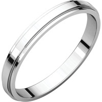 10k White Gold 2.5mm Flat Edge Wedding Band Ring - Bridal Jewelry: RingSize: 50