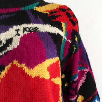JENNY KEE!!! Vintage 1980s 'Jenny Kee' colourful hand knitted Australiana wool sweater using the Ultimate - Oz pattern