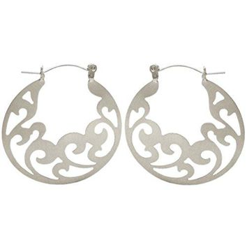 15quot Filigree Hoop Earrings in Silver Tone with Matte Finish
