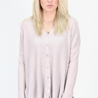 2 in 1 Thermal Cardigan Blouse {Taupe}
