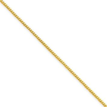 0.9mm, 14k Yellow Gold, Solid Franco Chain Necklace, 30 Inch