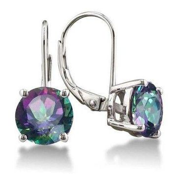 Rainbow Fire Mystic Topaz Drop Earrings .925 Sterling Silver