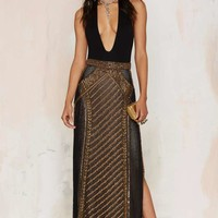 The Jetset Diaries Perlina Beaded Maxi Skirt
