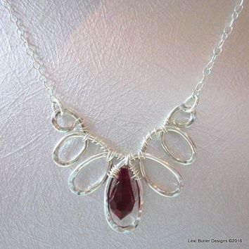 Sterling Silver Wire Sculpted Red Crystal Teardrop Necklace