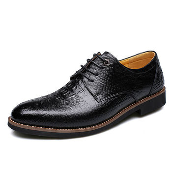 Men Alligator Pattern Pointed Formal Business Lace Up Shoes