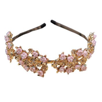 Pink Flower Rhinestone Detail Hairband