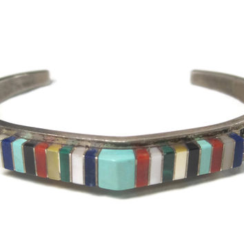 Vintage Navajo Raised Inlay Cuff Bracelet Sterling 6.5 Inches