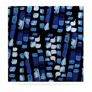 """Nina May """"Blue Watercolor Swatches"""" Blue Black Abstract Coastal Mixed Media Painting Luxe Square Panel"""