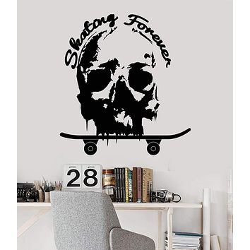 Vinyl Wall Decal Skateboard Skater Skull Skating Forever Teen Room Decor Stickers Unique Gift (1264ig)