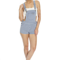 Pinstriped Denim Overalls
