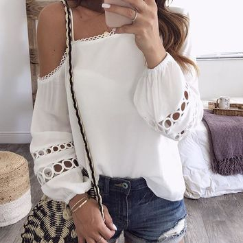 Fashion Off-the-shoulder Blouses&Shirts Tops