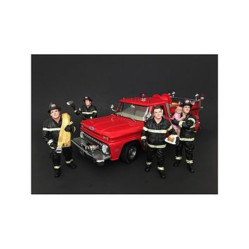 Firefighters 4 Piece Figure Set For 1:18 Scale Models by American Diorama