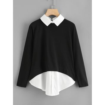 Contrast Collar 2 In 1 Blouse