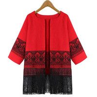 Women Loose Knit Tassel Coat Cardigan Sweater