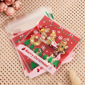100Pcs Xmas Santa Cello Bag Cellophane Cookie Peel N Seal Candy Treat Bags For Christmas Party Gift