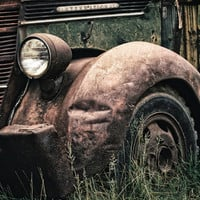 Vintage International Truck Print, Rustic Industrial Photography, Man Cave, Brown & Green Wall Art | 'At Rest'