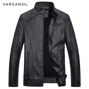 Men Bomber Jacket Casual Style Long Sleeve Warm Leather Jackets Men Winter  Outerwear Thick Zipper With Pocket